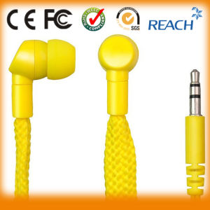 Portable Stereo Shoelace Earphone Yellow Earbuds pictures & photos