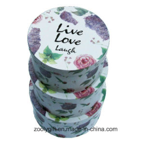 Beautiful Flower Printing Round Paper Box Rigid Nesting Round Hat Gift Boxes with Lid pictures & photos