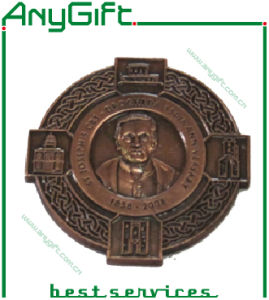 Zinc Alloy Die Casting 3D Medallion with Antique Brass Plating pictures & photos