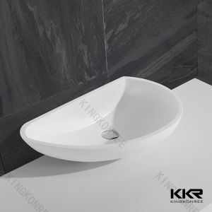 Ce Approval White Bathroom Solid Surface Stone Bowl Sinks pictures & photos