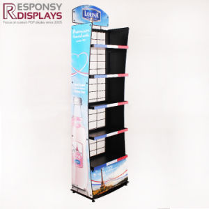 Floor Metal 5 Tiers Beverage Water Display Stand with Side Graphic Panel Header pictures & photos