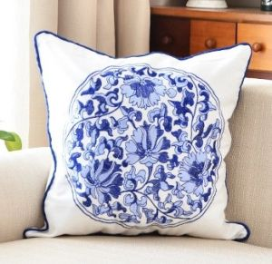 Pillow Canvas Wool Embroidery Cushion Cover Pillow Case Flower Design Chinese National Style pictures & photos