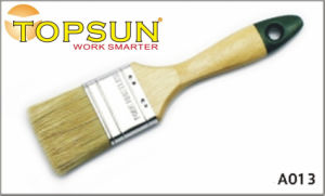 White Bristle Green Tail Varnished Paint Brush with Wooden Handle