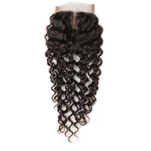 Straight Brazilian Hair Weave Bundles Lace Closure Cheap Brazilian Straight Hair Closure Silk Closure 4X4 130% Density pictures & photos