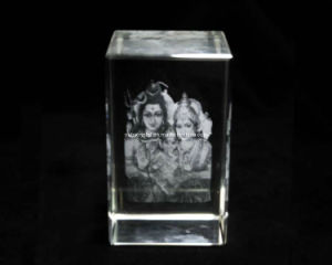 3 Inches 3D Gauri Ganesha Crystal Block for Hindu (R3018) pictures & photos