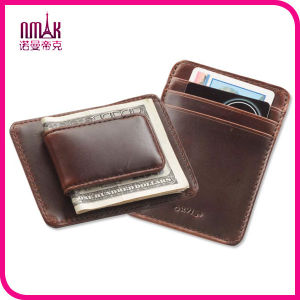New London Stitch Leather Bifold Front Pocket ID Card Wallet with Money Clip Brown pictures & photos
