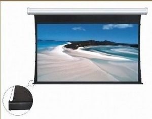 Tab-Tensioned Electric Screen with Black Aluminum Casing Dhttps-071