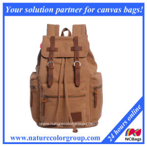 Mens Canvas and Leather Hiking Travel School Backpack pictures & photos