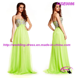 Full Length Green Sexy Prom Dress with Beading pictures & photos