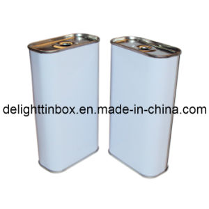 Rectangular White-Painted Oil Tin Can (DL-RT-0529)