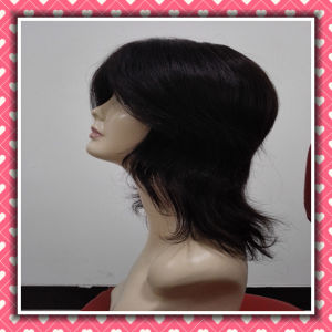 Factory Price Full Lace Human Hair Wig Medium Size Wig pictures & photos