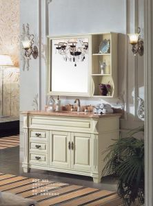 Solid Wood Bathroom Cabinet Beige Color Vanity (ADS-632) pictures & photos