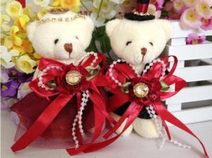 Free Shipping, 120PCS/Lot, 13cm Plush Dressed Teddy Bear for Valentine′s Day and Wedding Gifts