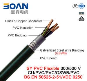 Sy PVC Control Cable, 300/500 V, Flexible Cu/PVC/PVC/Gswb/PVC (BS EN 50525-2-51/VDE0250) pictures & photos