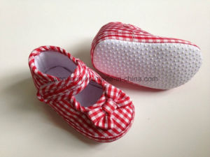 Print Fabric Bowknot Mary Jane Baby Shoes pictures & photos