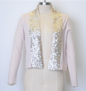 100%Cotton New Pure Color Women Knit Open Cardigan with Sequins pictures & photos