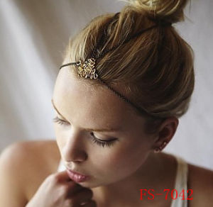 Worm Fossil Head Piece Antique Gold Retro Hair Band