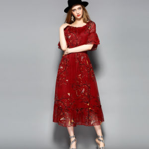 Red Floral Print Elastic Waist Long Dress for Women pictures & photos