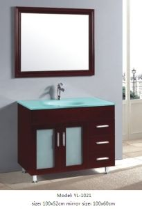 Solid Wood Bathroom Cabinet with Glass Sink pictures & photos