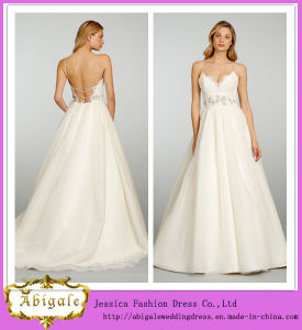 New Hot Ball Gown Backless Tulle Appliques Sleeveless Simple Spaghetti Strap Wedding Dresses Bridal Yj0005