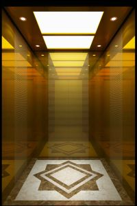 Golden Mirror Etching Passenger Elevator Lift (16K003) pictures & photos