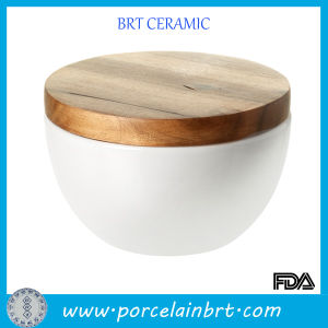 White Good Quality Eco-Friend Ceramic Bowl with Wooden Lid pictures & photos