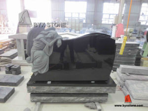 Shanxi Black Granite Angel Carving Headstone Monument pictures & photos