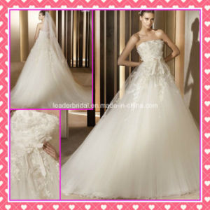 Strapless Tulle Applique Beading A-Line Wedding Dress (P008) pictures & photos