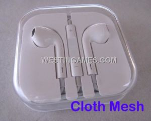 Earpods Headphone Ear Phones with Mic Cloth Mesh for iPhone 5 5g/ iPad 3/4 /iPad Mini (Simple Pack)