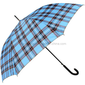 Plaid Patten Straight Umbrella for Advertising Promotional Umbrella with High Quality