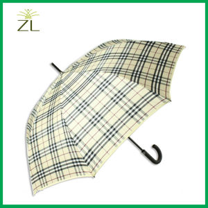 Oversize Windproof 8k Auto Open Gingham Subway Golf Umbrella with Shoulder Strap pictures & photos