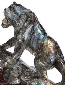 Natural Tiger Crystal Carved Labradorite Stone Sculpture Home Decor Aj55