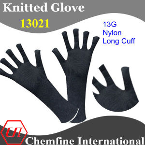 13G Black Nylon Knitted Long Cuff Glove with White Over Lock pictures & photos