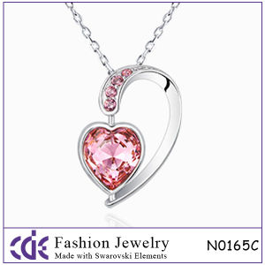 Heart Shape Necklaces Jewelry with Crystal Paved for Girls