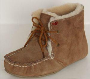 Sheepskin Shoes Slipper for Women and Girls Chestnut.
