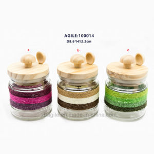 Factory Price Wholesale Wood Lid and Spoon Glass Spice Storage Jar pictures & photos