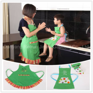 Wholesale Mother Daughter Frilly Embroidered Artist Grilling Waist Apron Apron