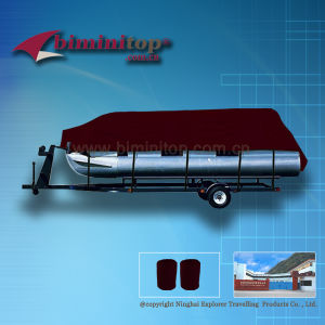 Burgundy Waterproof Pontoon Custom Boat Cover (ECP600-C)