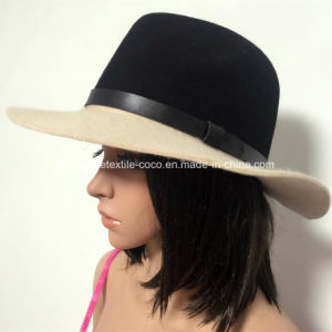 Fashion Fake Wool Contrast Colour Fedora Hat pictures & photos