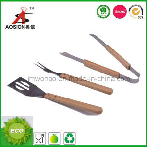 Wood Handle Stainless Steel BBQ Tools (FH-BQ01-3)