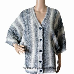 Women Knitwear Stripe Half-Sleeve Cardigan Sweater (HS50187)
