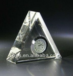 Crystal Glass Pyramid Paperweight with Clock pictures & photos