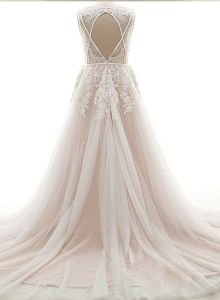 Sleeveless Bridal Gown Vestidos Lace Tulle Beach Wedding Dress L15344 pictures & photos