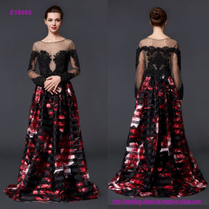 Delicate Elegant Fashion Style Transparent Long Sleeve and Dimensional Printed Flower A Line Evening Dress pictures & photos