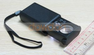 30X/60X Jewelry Magnifier Double Lens Portable Magnifying Glass with LED UV Lights pictures & photos
