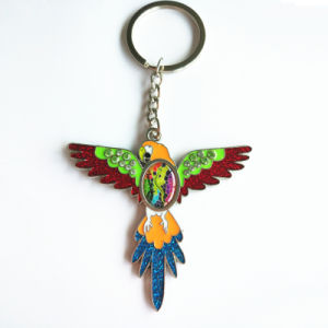 Promotional Advertising Gift - Metal Owl Glitter Enamel Strap Key Chain Ring pictures & photos