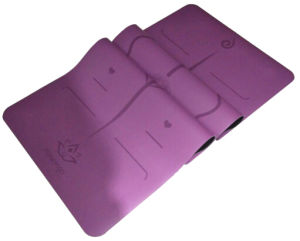Purple PU Yoga Mat From China Supplier with Laser Engraved Alignment and Company Logo pictures & photos