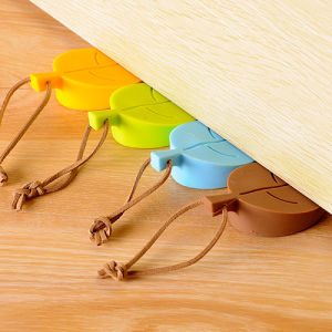 Promotional Creative Leaf Shape Baby Hand Protection Silicone Door Stopper with Hang Rope pictures & photos