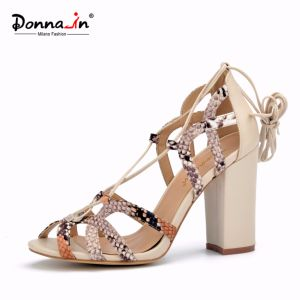 2017 Lady Casual Snake Pattern Lace-up Women High Heels Sandals