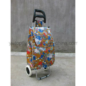 2 Wheeled Foldable Supermarket Trolley Medal Hand Shopping Basket Cart pictures & photos